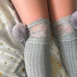 SALE Cherry Grey Pom Poms & Grey Knit Lounge Knee High Socks - More Colours - Cherrylingerie