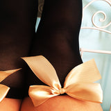 Ava Pin-Up Black With Gold Bows Thigh High Stockings - Plus Size Available - Cherrylingerie