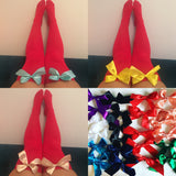 Ava Pin-Up Red With Purple Bows Thigh High Stockings - Choose Colour Bows
