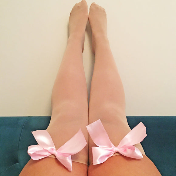 Ava Pin-Up Nude Beige with Light Pink Bows Thigh High Stockings - More Colours