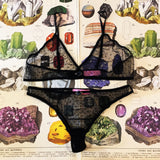 Lingerie Gift Box - Ophelia Onyx Black Bralette, Knickers & Silk Sleep Eye Mask Set - Curiosities Crystals Minerals Collection
