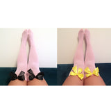 Ava Pin-Up Light Pink with Bright Blue Bows Thigh High Stockings - More Colours