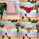 Valentines Lingerie Gift Box - Set of Three Joan Gold Leopard Print, Light Pink & Red Silk Tie Sides Bows Knickers