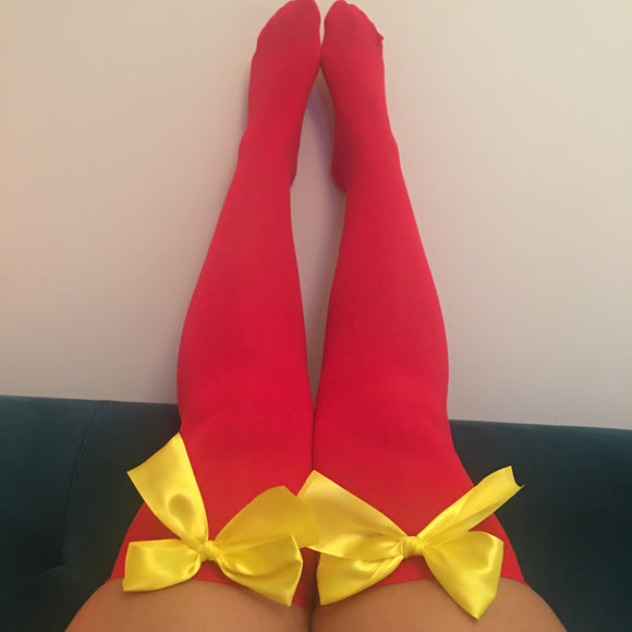 Ava Pin-Up Red With Yellow Bows Thigh High Stockings - Choose Colour Bows