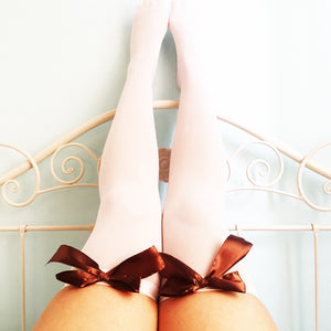 Ava Pin-Up White With Brown Bows Thigh High Stockings - Plus Size Available - Cherrylingerie