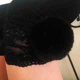 SALE Cherry Black Pom Poms & Black Knit Lounge Knee High Socks - More Colours - Cherrylingerie