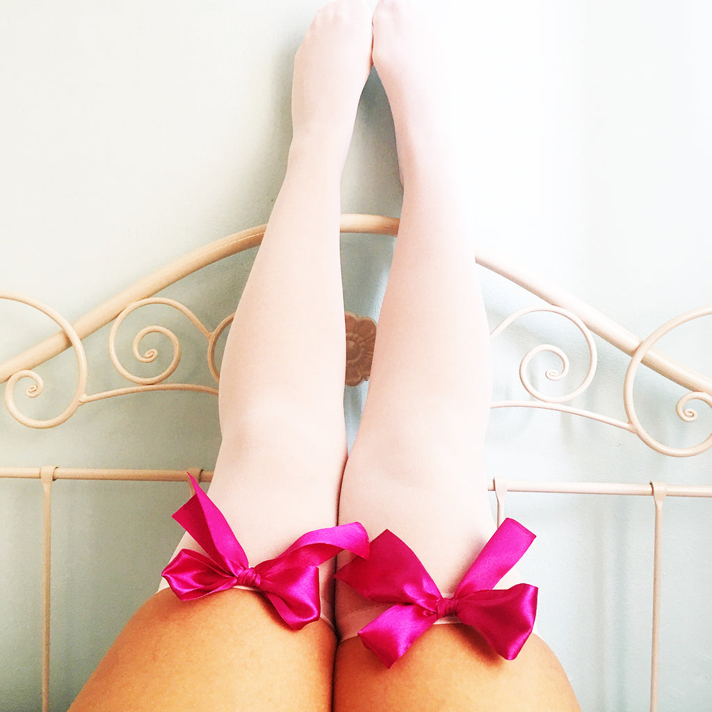 Ava Pin-Up White With Hot Pink Bows Thigh High Stockings - Plus Size Available - Cherrylingerie