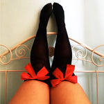 Ava Pin-Up Black With Red Bows Thigh High Stockings - Plus Size Available - Cherrylingerie