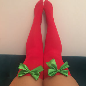 Ava Pin-Up Red With Green Bows Thigh High Stockings - Choose Colour Bows