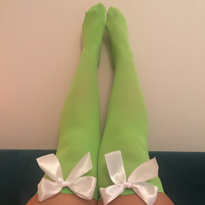 Ava Pin-Up Green With White Bows Thigh High Stockings - Choose Colour Bows