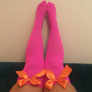 Ava Pin-Up Hot Pink With Orange Bows Thigh High Stockings - More Colours