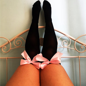 Ava Pin-Up Black With Light Pink Bows Thigh High Stockings - Plus Size Available - Cherrylingerie