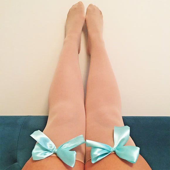 Ava Pin-Up Nude Beige with Light Blue Bows Thigh High Stockings - More Colours