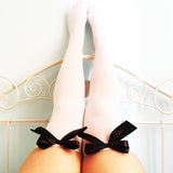 Ava Pin-Up White With Black Bows Thigh High Stockings - Plus Size Available - Cherrylingerie