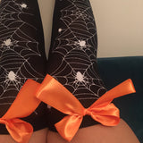 Blair Spider Webs Halloween Pin-Up Black Thigh High Stockings - Choose Colour Bows