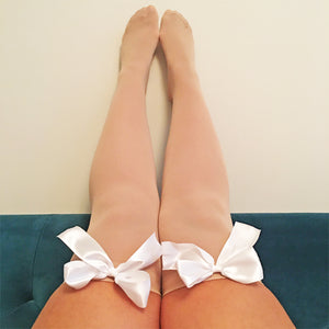 Ava Pin-Up Nude Beige with White Bows Thigh High Stockings - More Colours