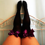Ava Pin-Up Black With Purple Bows Thigh High Stockings - Plus Size Available - Cherrylingerie