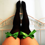 Ava Pin-Up Black With Green Bows Thigh High Stockings - Plus Size Available - Cherrylingerie