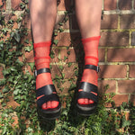 Cynthia Red Sheer Socks - More Colours - Cherrylingerie