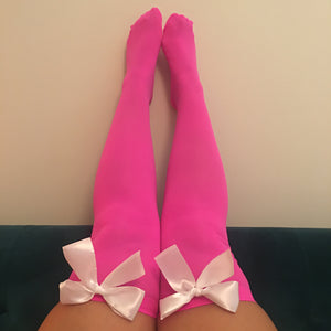 Ava Pin-Up Hot Pink With White Bows Thigh High Stockings - More Colours