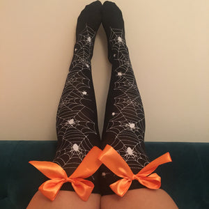 Blair Spider Webs Halloween Pin-Up Black With Orange Bows Thigh High Stockings - More Colours