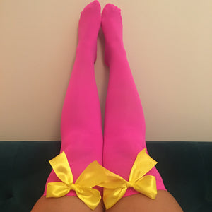 Ava Pin-Up Hot Pink With Yellow Bows Thigh High Stockings - More Colours