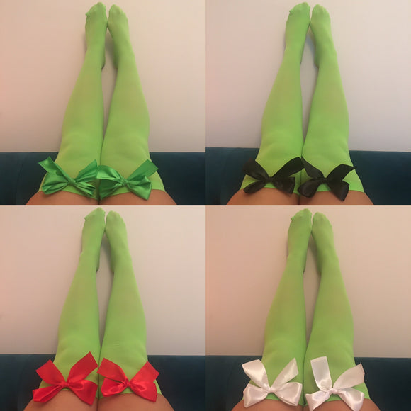 Ava Pin-Up Green Thigh High Stockings - Choose Colour Bows