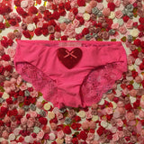 SALE Dove Red Sequin Heart Sheer Pink Lace Knickers - Cherrylingerie
