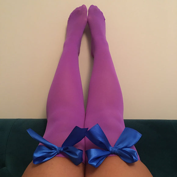 Ava Pin-Up Purple with Royal Blue Bows Thigh High Stockings - More Colours