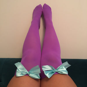 Ava Pin-Up Purple with Light Blue Bows Thigh High Stockings - More Colours