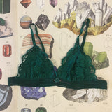 Lingerie Gift Box - Vivienne Vesuvianite Green Bralette, Knickers & Silk Sleep Eye Mask Set - Curiosities Crystals Collection