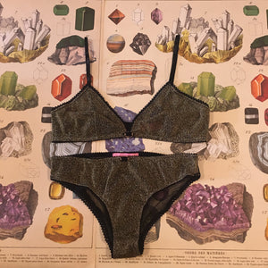 Olivia Ore Gold & Black Bralette and Knickers Lingerie Set - Curiosities Crystals Collection