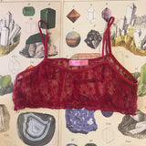 Lingerie Gift Box - Serenity Red Hixon Ruby Bralette, Knickers & Silk Sleep Eye Mask Set - Curiosities Crystals Collection