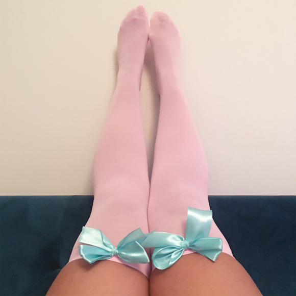 Ava Pin-Up Light Pink with Light Blue Bows Thigh High Stockings - More Colours