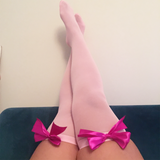Ava Pin-Up Light Pink with Hot Pink Bows Thigh High Stockings - More Colours