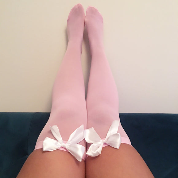 Ava Pin-Up Light Pink with White Bows Thigh High Stockings - More Colours