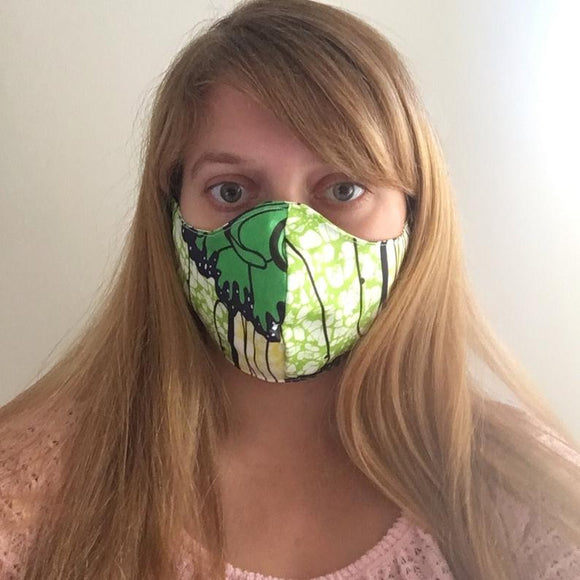 Green African Print Face Mask - Multi Size Mens, Womens to Children - More Colours