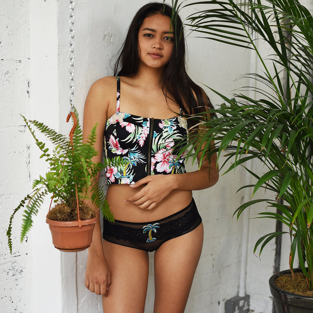 Tamie Tropical Black Bra - Lingerie - Bralette - Floral - Embroidery - Embroidered - Gift for Her - Kawaii - Beach - Travel - UK Sellers - Cherrylingerie