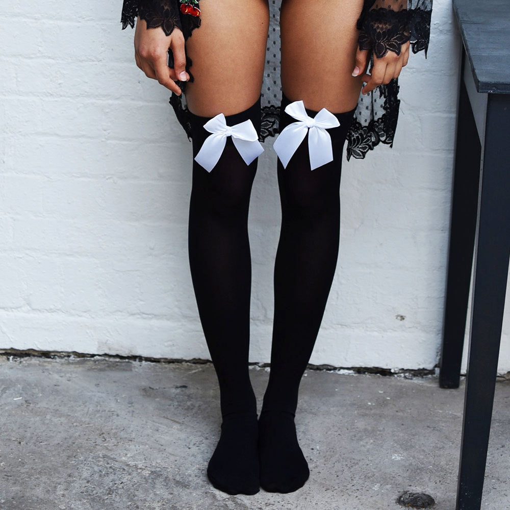 Chiyo Cherries Black Thigh High Stockings - Sheer Kawaii Collection - Plus Size Available - Cherrylingerie