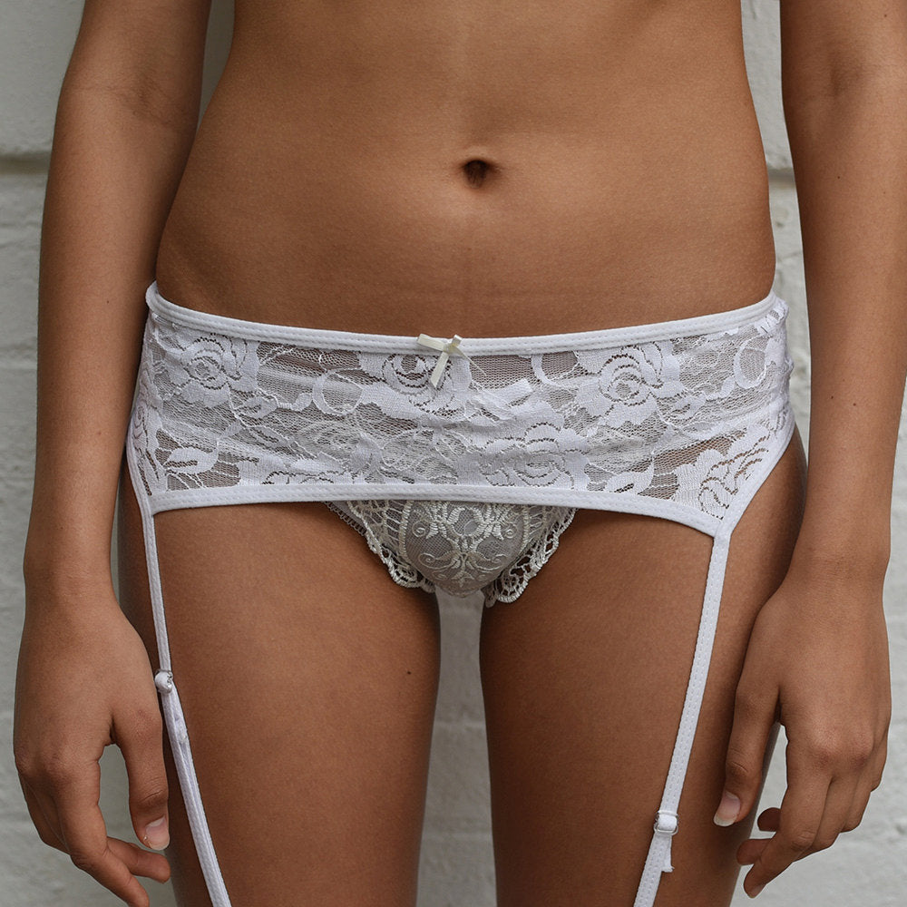 Emiko Victoriana White Suspender Belt - More Colours - Sheer Kawaii Collection - Cherrylingerie