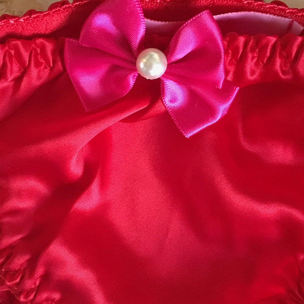 Joan Red Silk Knickers - Lingerie - Panties - Bow - Kawaii - Pinup - Gift for Her - Sexy - Erotic - Unique Present - Soft - UK Sellers Only - Cherrylingerie