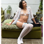 Luna Kitty Thigh High Stockings - Sheer Kawaii Collection - Plus Size Available - Cherrylingerie