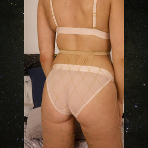 Astrid Stars System Nude Bra & Knickers Set - Celestial Beauty - Soft - Bralette - Panties - Transparent - Lingerie - Sheer - See Through