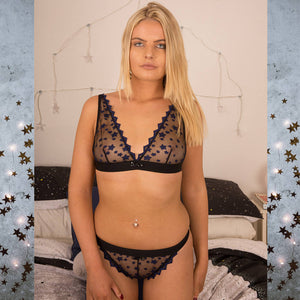 SALE Astrid Stars System Black Bra & Knickers Set - Celestial Beauty Collection - More Colours - Cherrylingerie