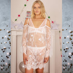 Astrid Stars System White Nightie - Celestial Beauty - Soft - Babydoll - Lace - Transparent - Lingerie - Sheer - See Through - Gift for Her - Cherrylingerie
