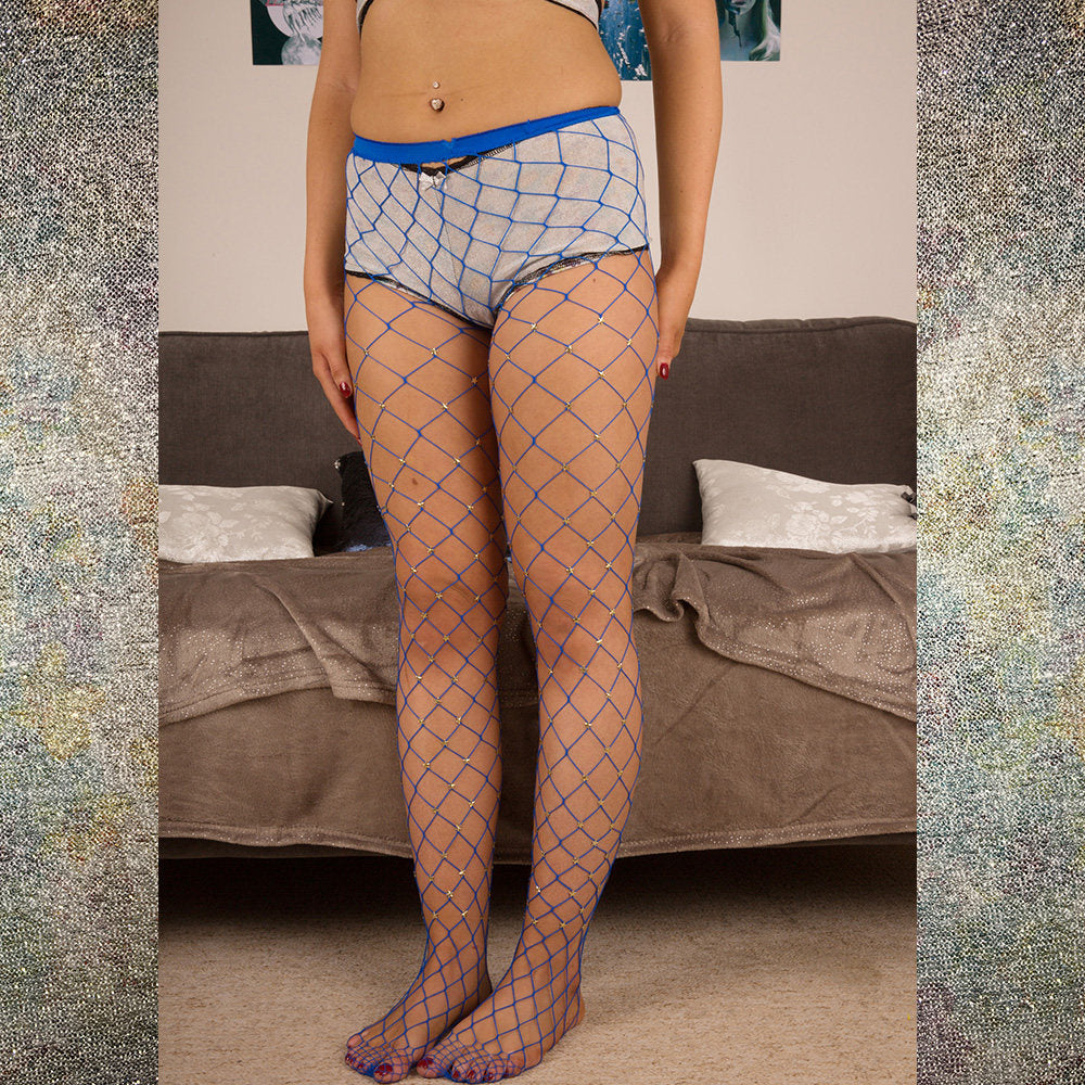 SALE Astrid Stars System Blue Fish Net Tights - Celestial Beauty - More Colours - Cherrylingerie