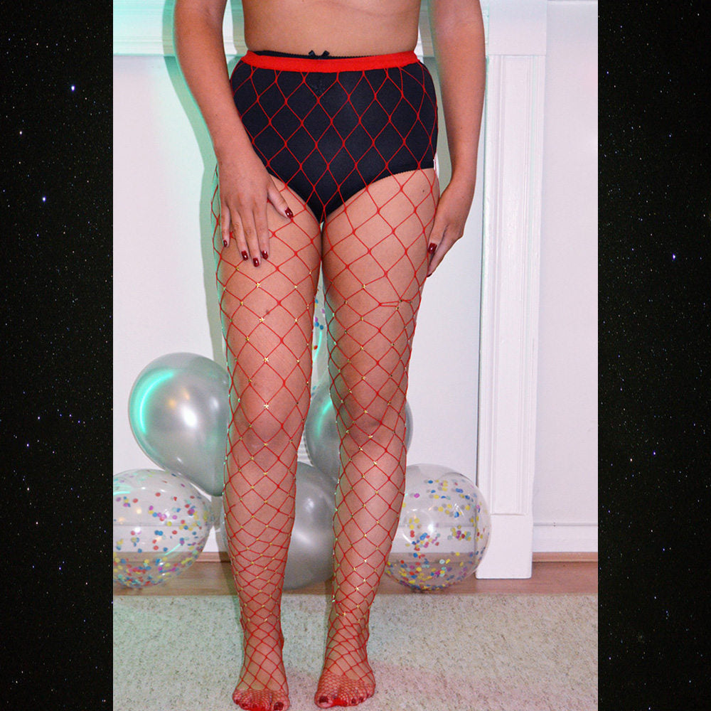 Myka Mars Stars Red Fish Net Tights - Cherrylingerie