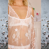 SALE Astrid Stars System White Nightie - Celestial Beauty Collection - Cherrylingerie