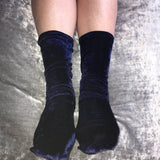 Cherry Navy Blue Velvet Socks - More Colours - Cherrylingerie