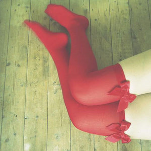 Etsu Red Bows Thigh High Stockings - Plus Size Available - Cherrylingerie
